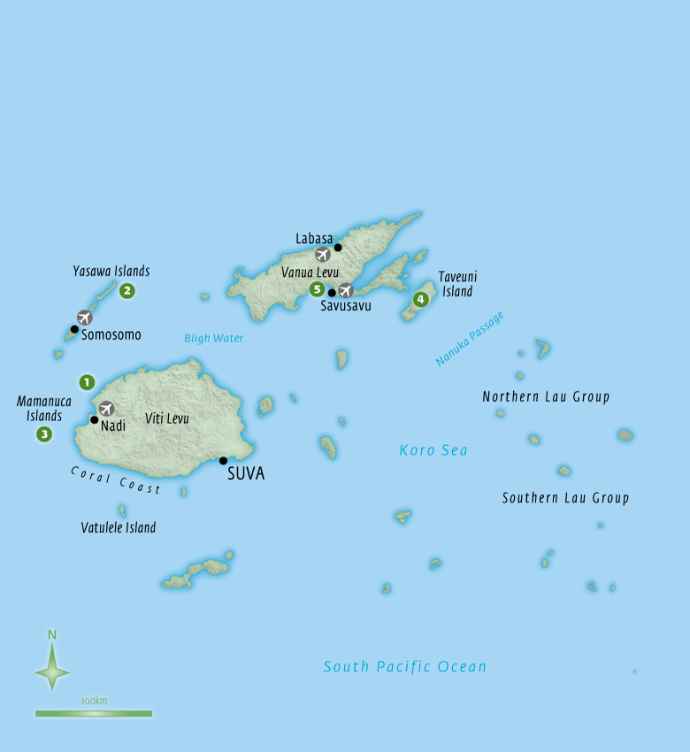 Map of Fiji with Essential Experiences