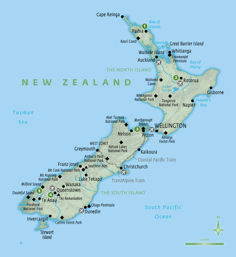 Map of New Zealand with Essential Experiences