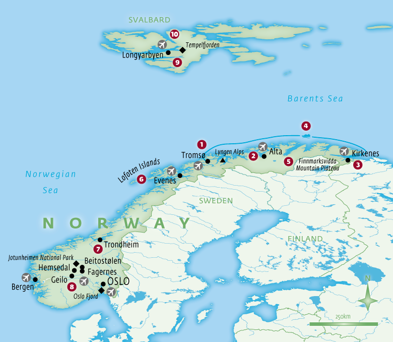 Map of Norway holidays tailor-made with Essential Experiences