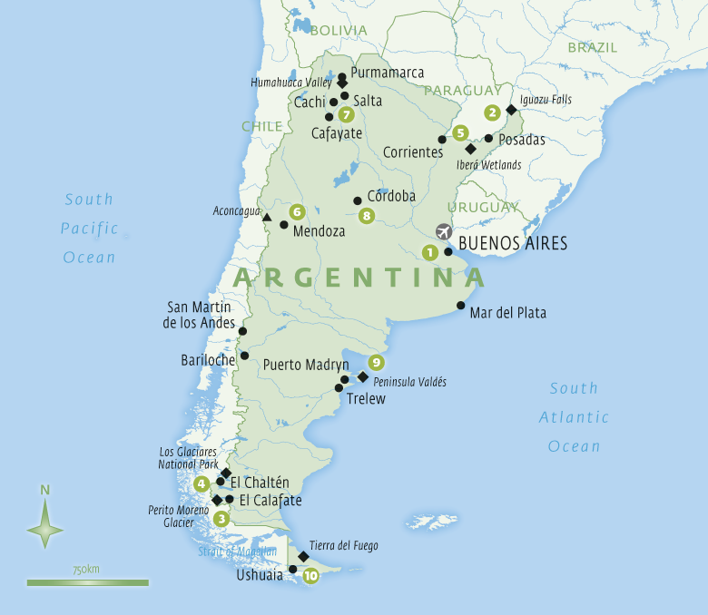 Map of Argentina with Essential Experiences