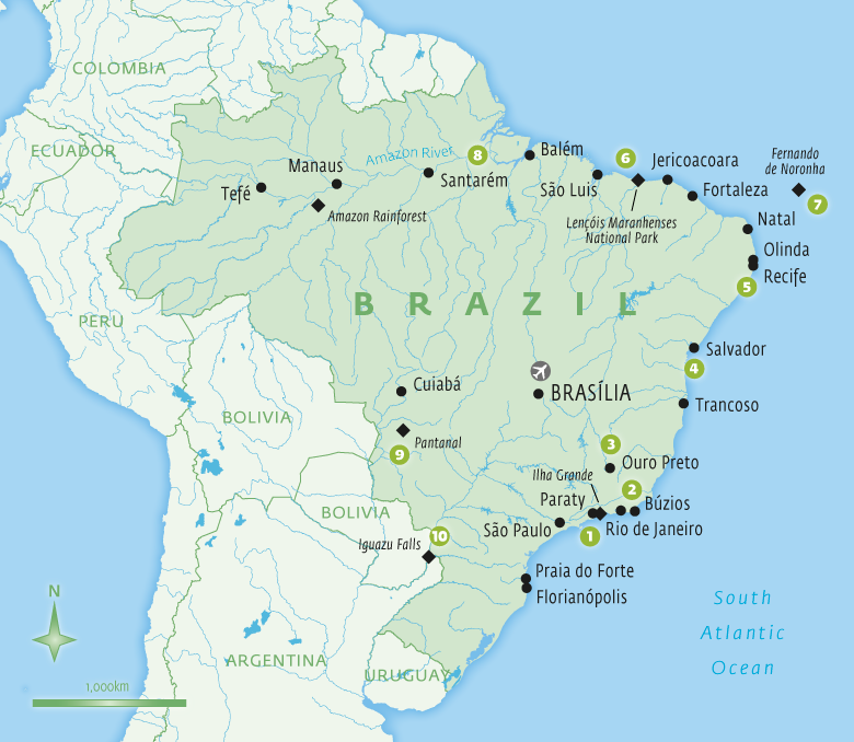 Map of Brazil holidays tailor-made with Essential Experiences