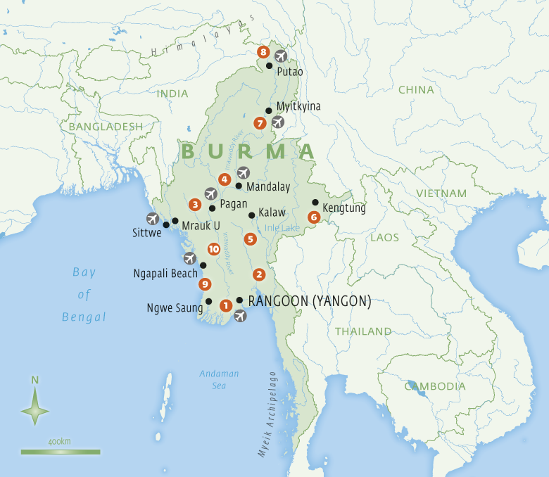 Map of Burma with Essential Experiences