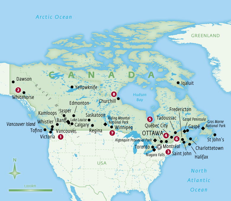 Map of Canada tailor-made holidays with Essential Experiences