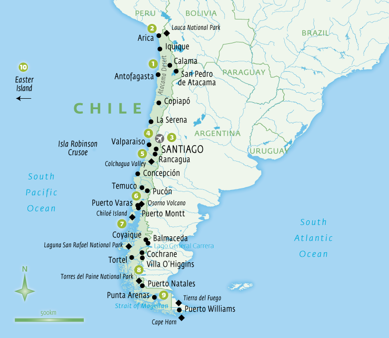 Map of Chile holidays tailor-made with Essential Experiences