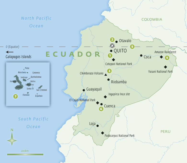 Map of Ecuador with Essential Experiences