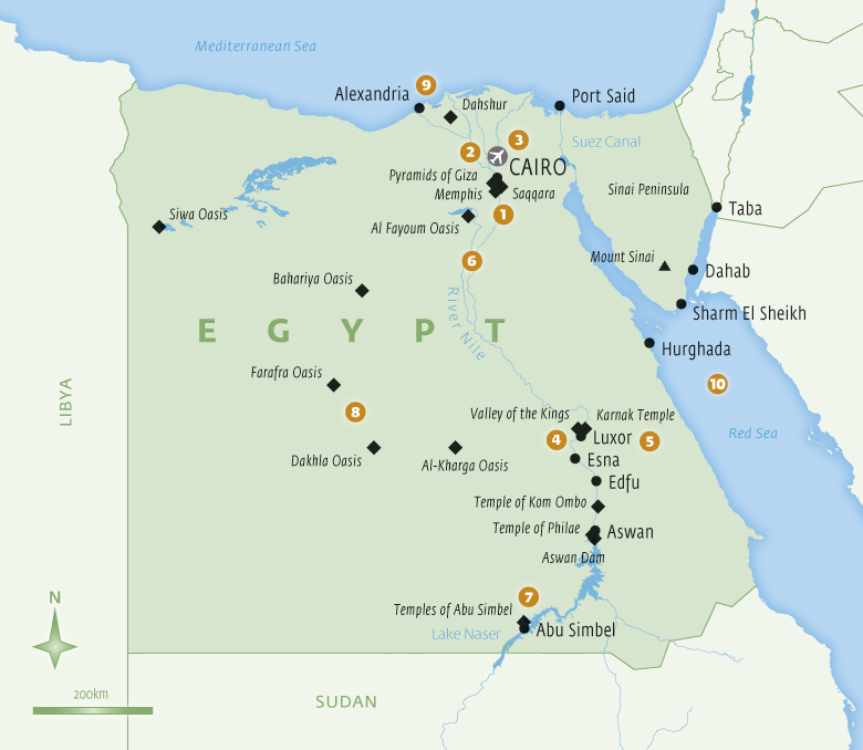 Map of Egypt with Essential Experiences