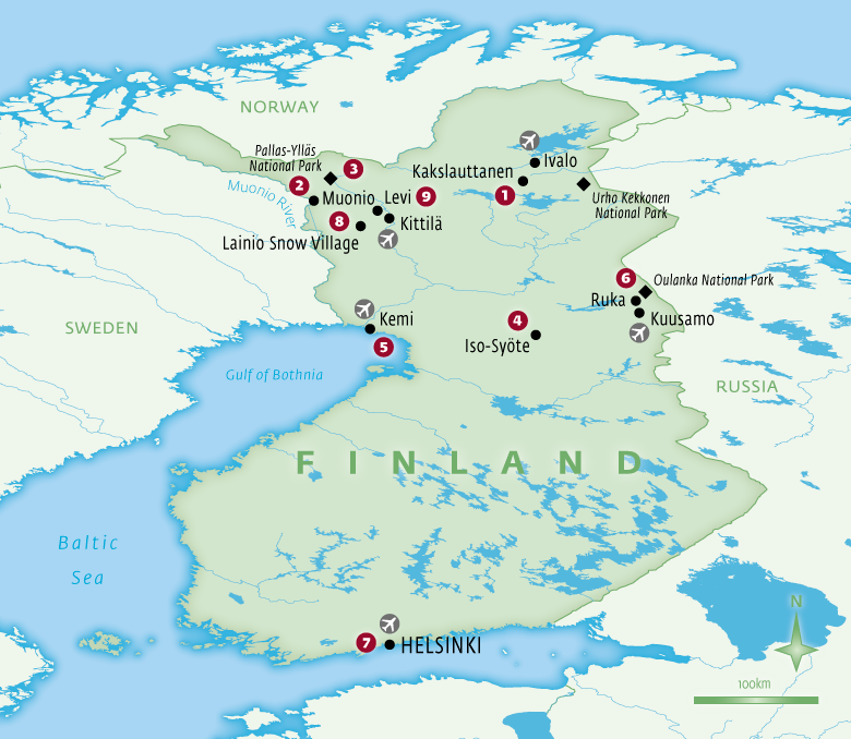 Map of Finland holidays tailor-made with Essential Experiences