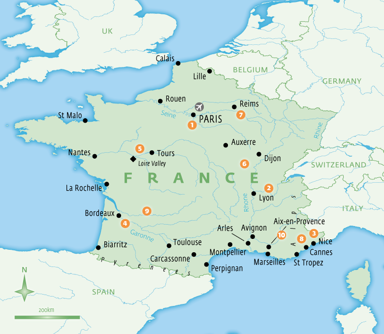 Map of France with Essential Experiences