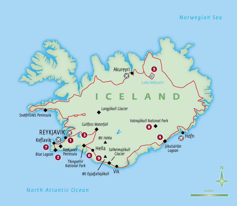 Map of Iceland with Essential Experiences