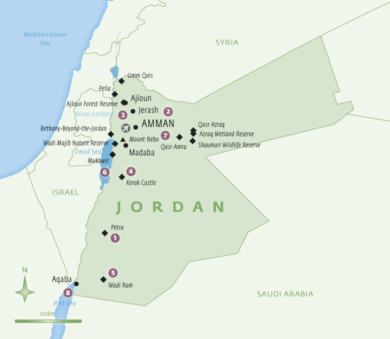 Map of Jordan with Essential Experiences