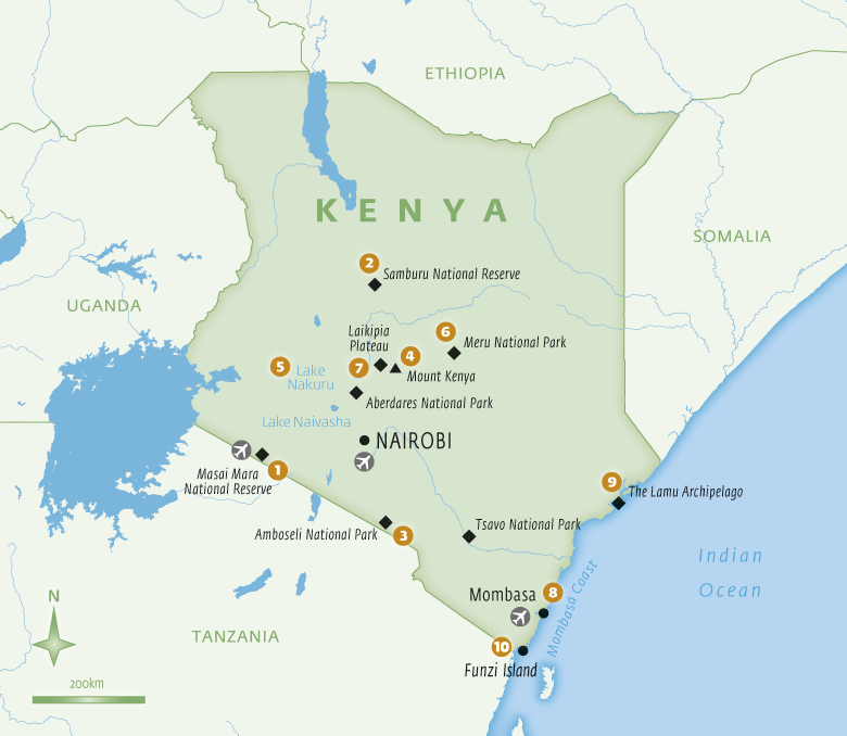 Map of Kenya with Essential Experiences