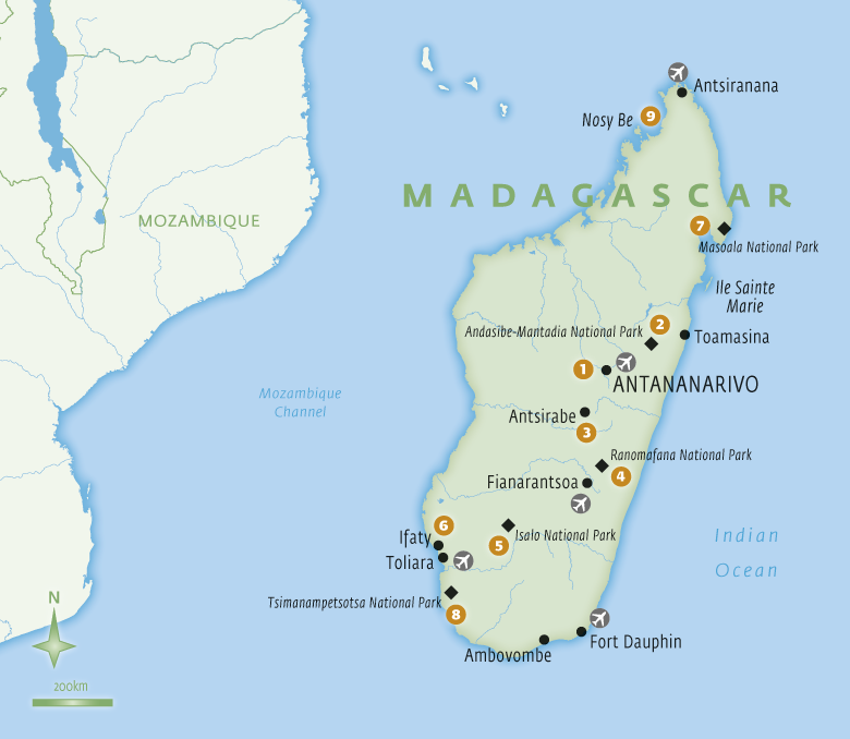 Map of Madagascar holidays with Essential Experiences