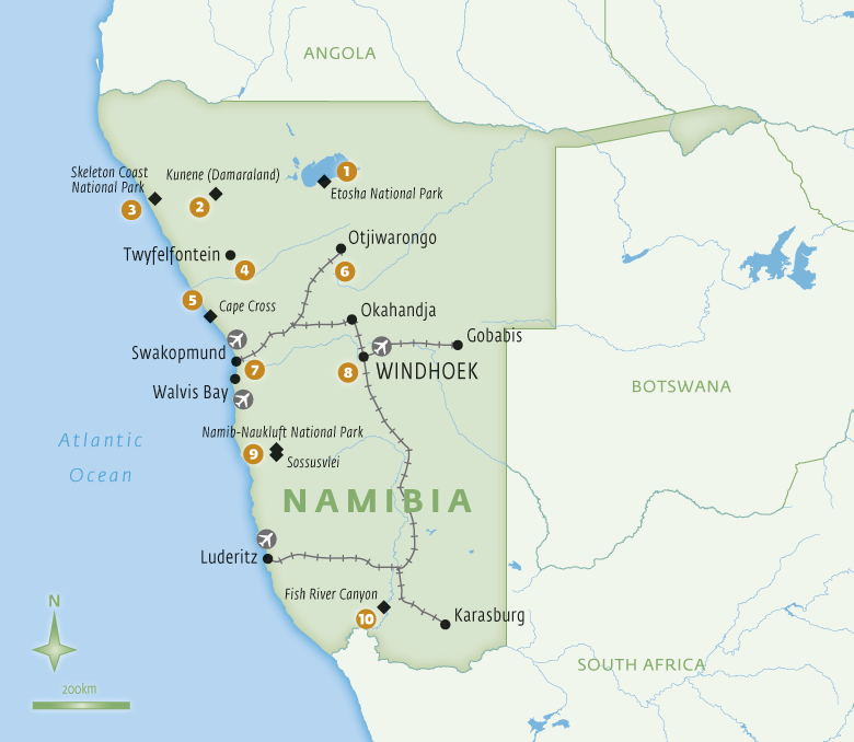 Map of Namibia with Essential Experiences