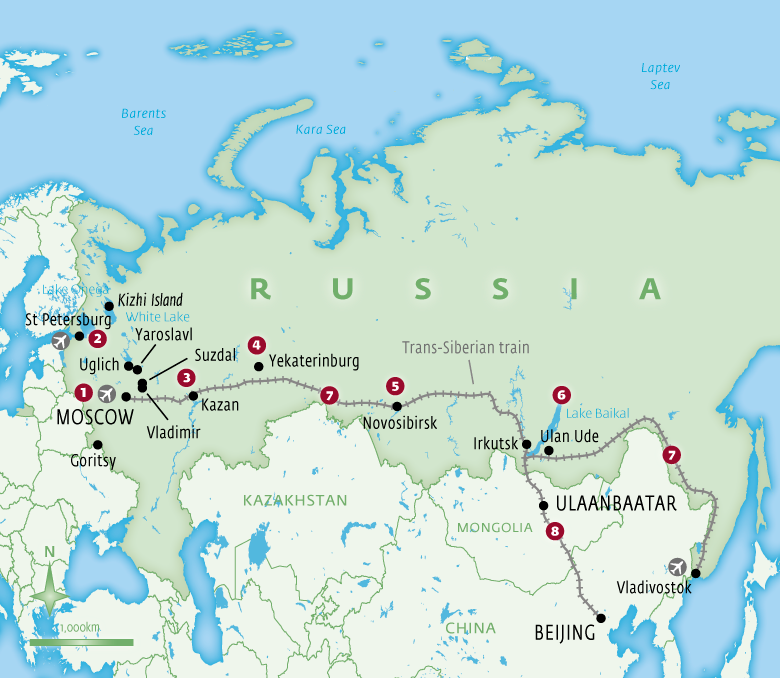 Map of Russia with Essential Experiences