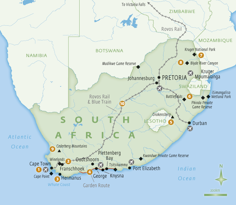 Map of South Africa with Essential Experiences