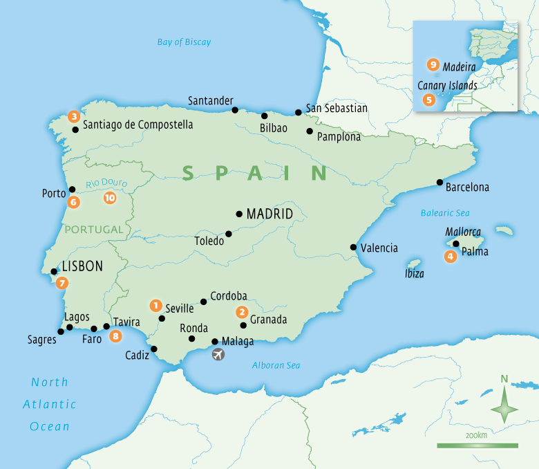 Map of Spain with Essential Experiences
