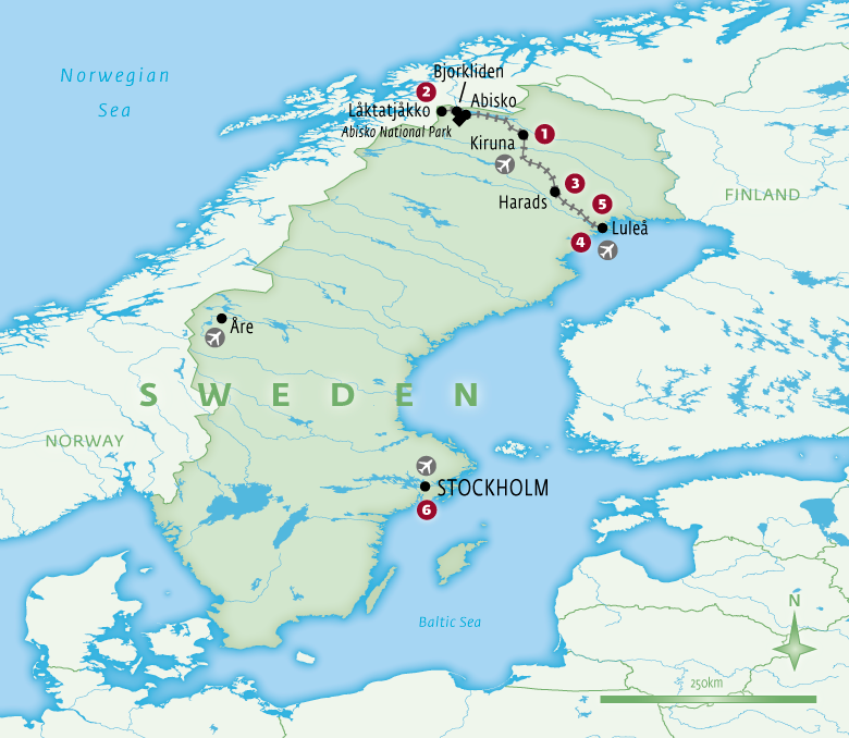 Map of Sweden with Essential Experiences