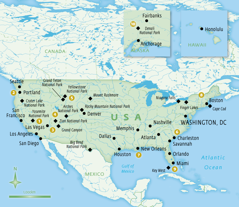 Map of USA with Essential Experiences