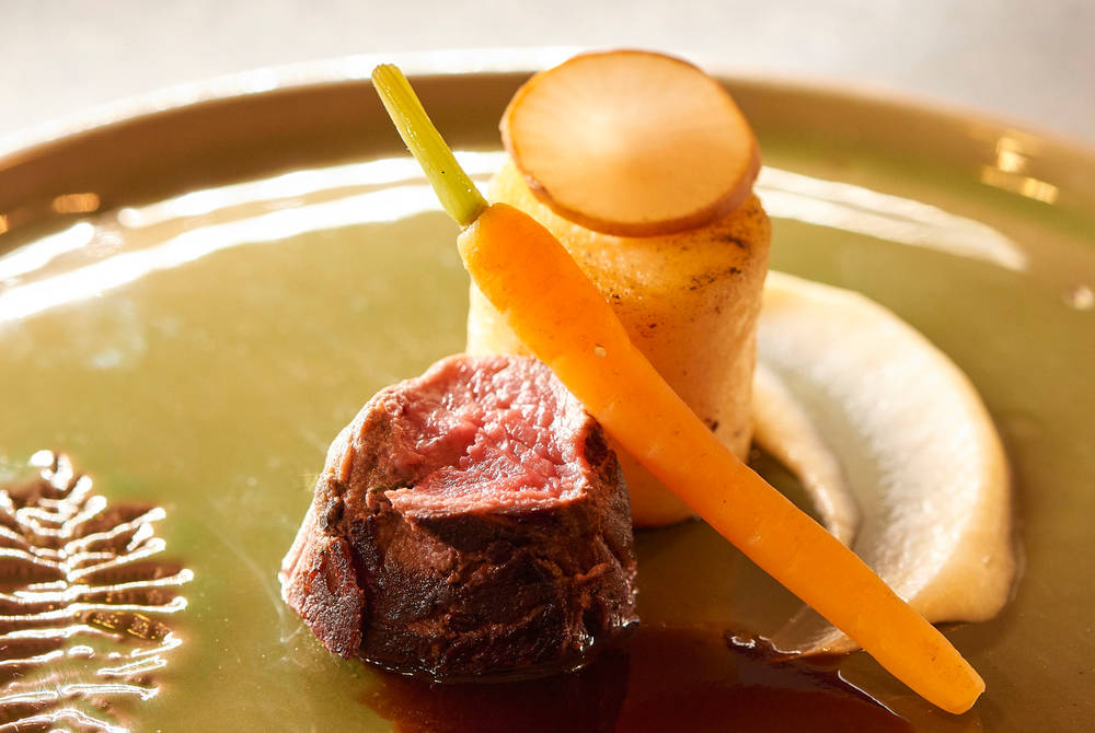 Moose, almond potato, carrot. Credit: Vanessa Romano ©ICEHOTEL