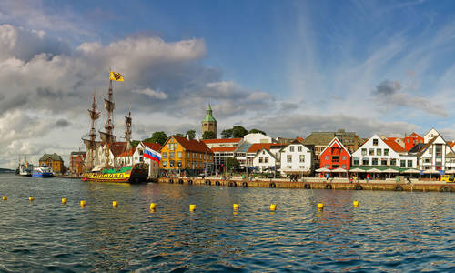 17th Century Buildings That Front The Harbor, Stavanger, Norway