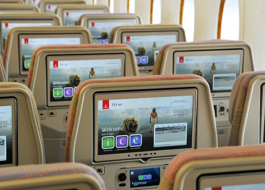 Emirates A380 Economy Class ICE entertainment system