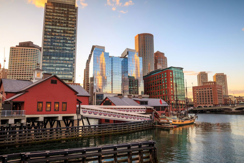 Boston Harbor and Financial District, Massachusetts, USA