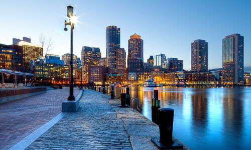 Boston Harbor and Financial District, Boston, Massachusetts, USA