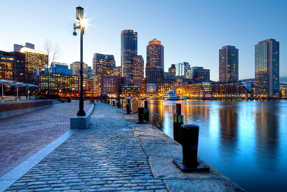 Boston Harbor and Financial District, Boston, Massachusetts, USA