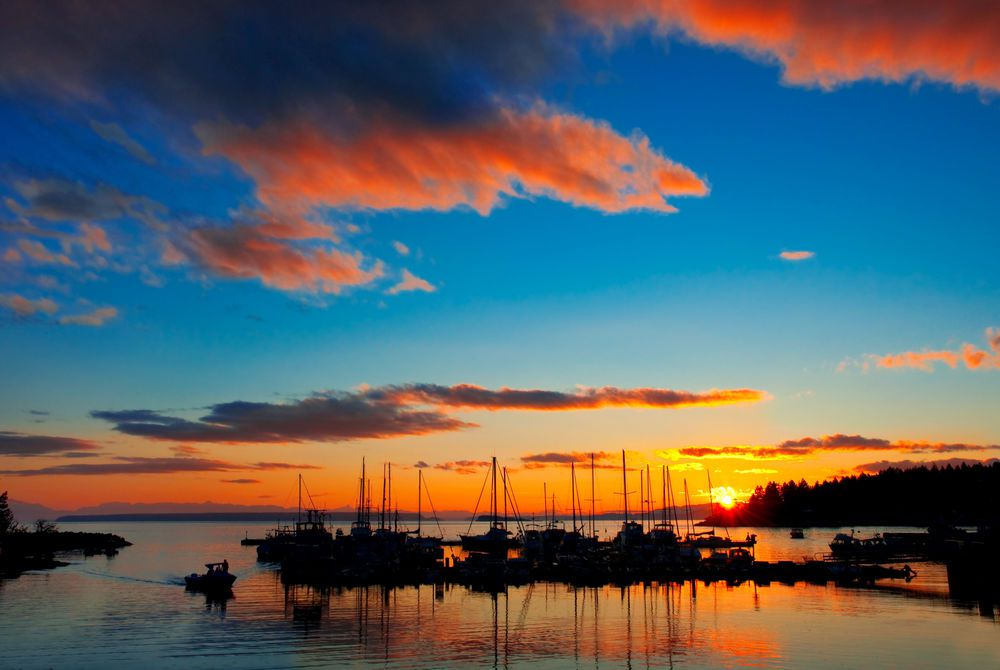 A beautiful sunset over the Lund Harbor in British Columbia, Canada