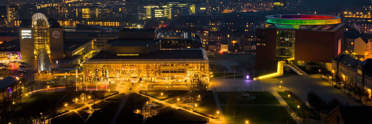 Aarhus's central concert hall by night