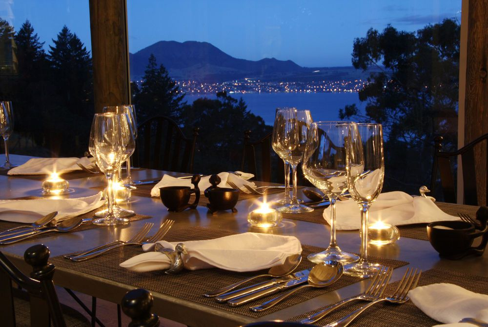 Acacia Cliffs Lodge evening dining and Mt Tauhara, New Zealand