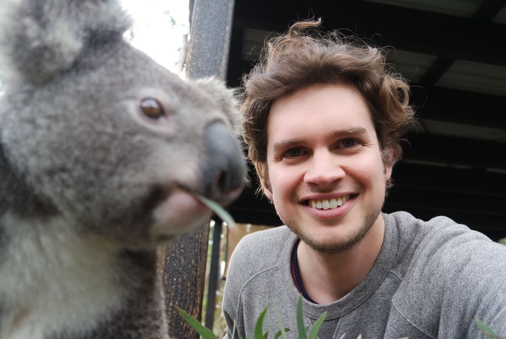 Adam Hickmott and a koala in Port Stephens, Australia