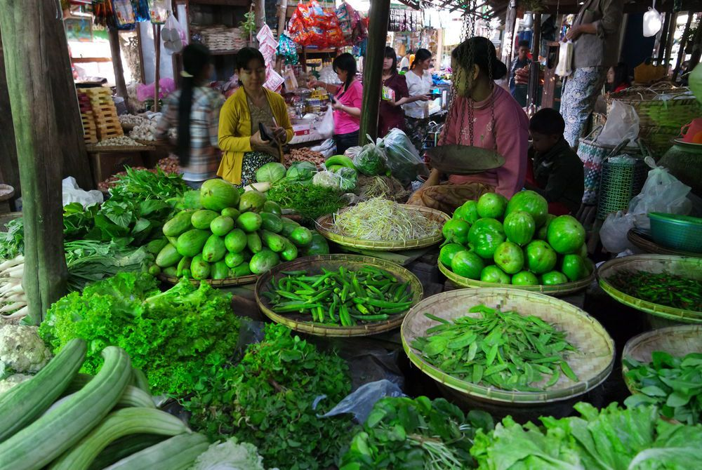 Adam Hickmott's photography of a vegetable stall in a market in Bagan, Myanmar