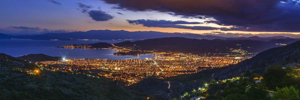 Aerial panoramic view of Volos city from Pelion Mountain