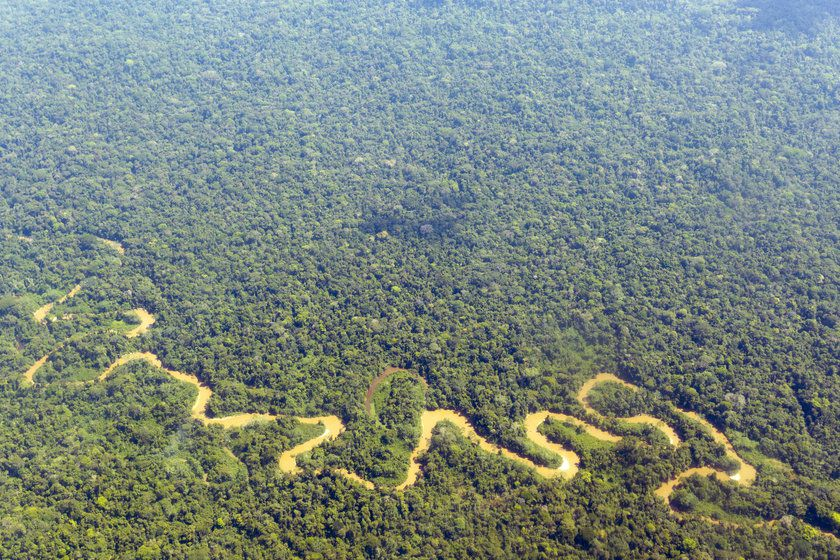 Aerial view Amazon River, South America