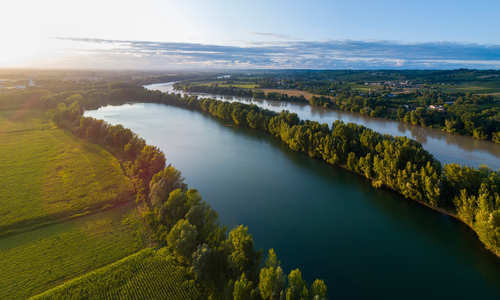 Aerial view of Bordeaux vineyard in France on the River Garonne