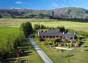 Aerial view, Lime Tree Lodge, Wanaka, New Zealand