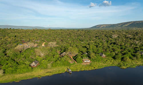 Aerial view, Wilderness Safaris Magashi Camp, Akagera National Park, Rwanda