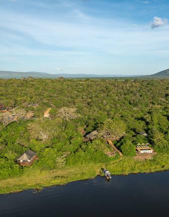 Aerial view, Wilderness Safaris Magashi Camp, Akagera National Park, Rwanda