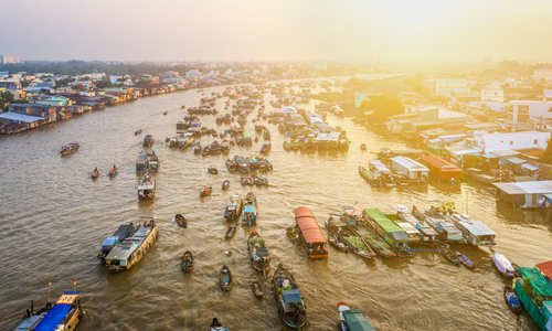 Aerial view of Cai Rang floating market, Mekong delta, Can Tho, Vietnam