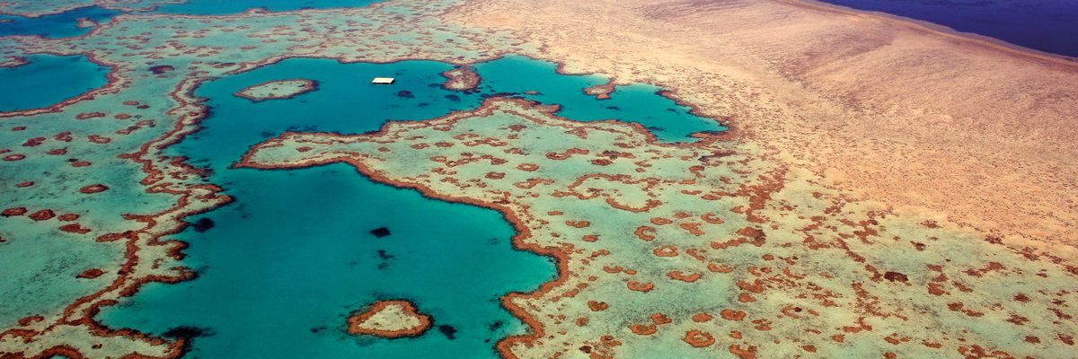 Aerial view of Heart Reef, Great Barrier Reef, Queensland, Australia