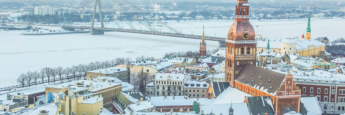 Aerial view of Riga in winter