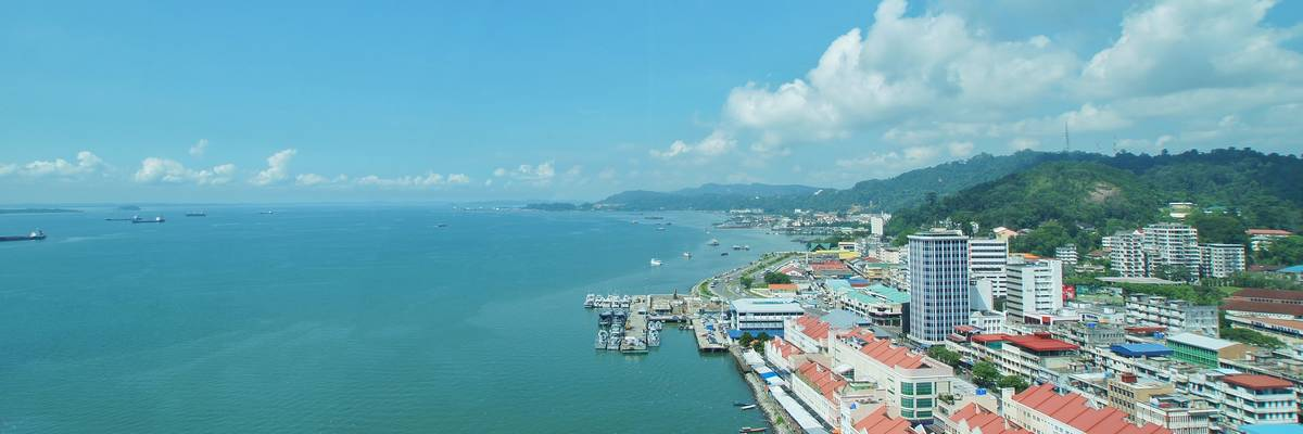 Aerial view of Sandakan city