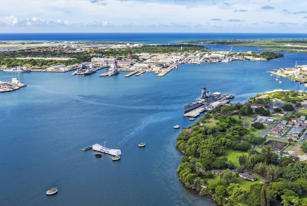 USS Arizona and USS Missouri Memorials at Ford Island, Pearl Harbor, Honolulu