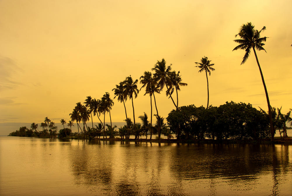 Sunset over the water at Alleppey, Kerala