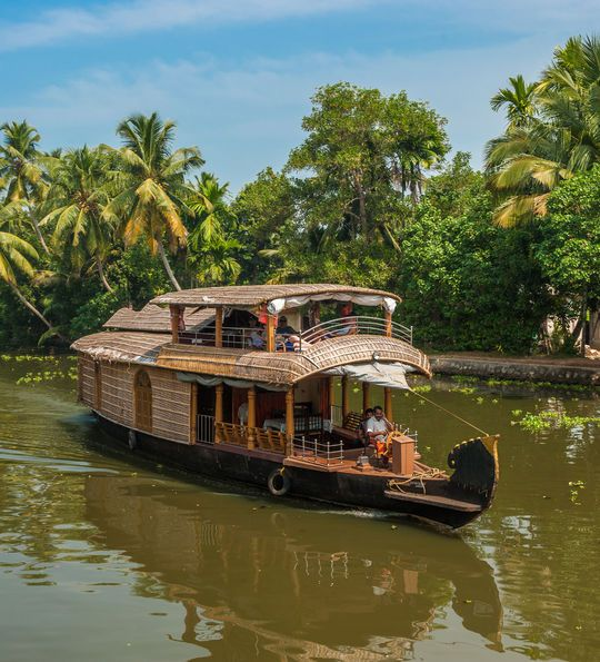 Traditional Keralan houseboat in Alleppey