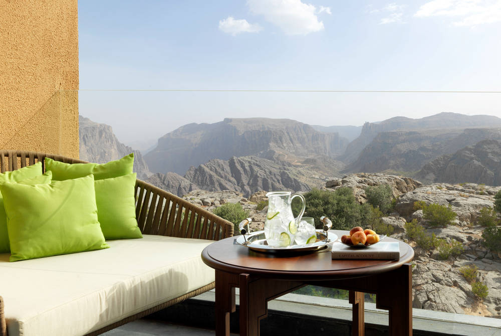 Deluxe Canyon View Room balcony, Anantara Al Jabal Al Akhdar Resort
