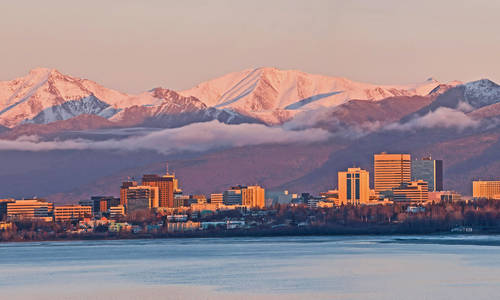 Anchorage, Alaska skyline at sunset