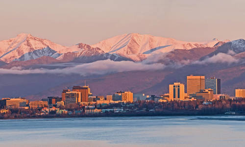 Anchorage, Alaska at sunset