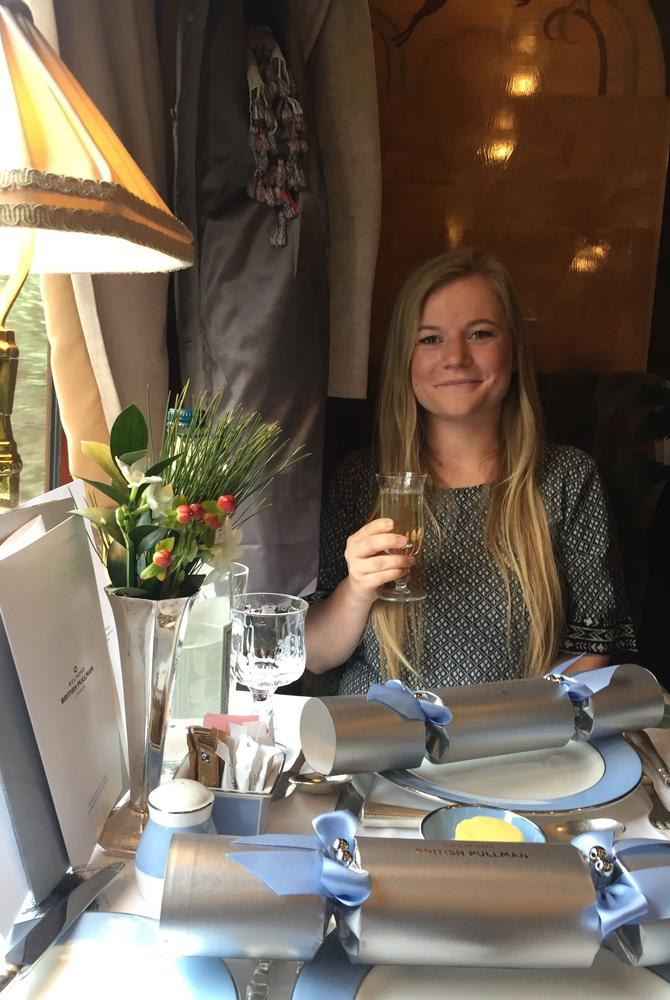Angela on the Belmond British Pullman